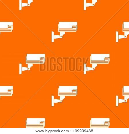 Surveillance camera pattern repeat seamless in orange color for any design. Vector geometric illustration