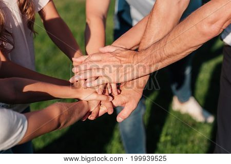 partial view of family holding hands together