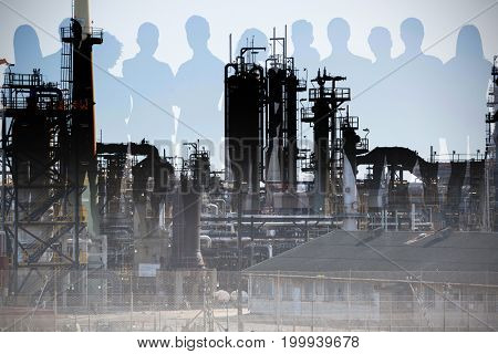 Business people on white background against image of factory