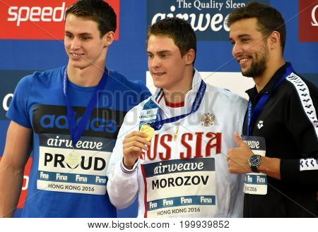 Hong Kong China - Oct 30 2016. PROUD Benjamin (GBR) MOROZOV Vladimir (RUS) and LE CLOS Chad (RSA) at the Victory Ceremony of Men`s Freestyle 50m. FINA Swimming World Cup.