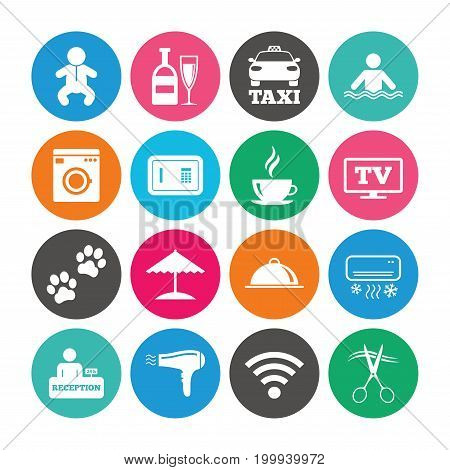 Set of Hotel services icons. Taxi, Wifi internet and Swimming pool signs. Coffee, Wine bottle and Air conditioning symbols. Colored circle buttons with flat signs. Vector