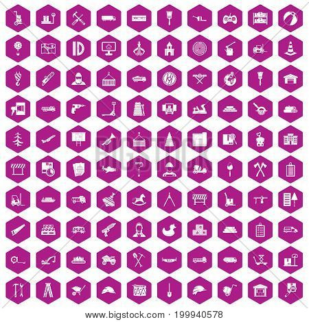 100 lorry icons set in violet hexagon isolated vector illustration