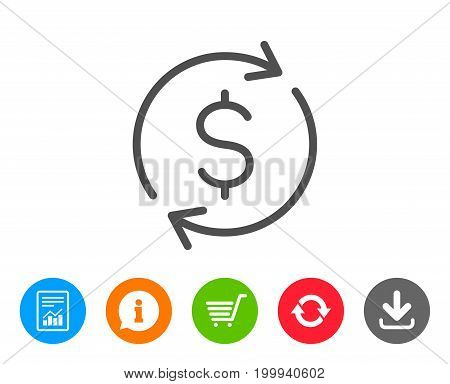 Currency exchange line icon. Money Transfer sign. Dollar in rotation arrow symbol. Report, Information and Refresh line signs. Shopping cart and Download icons. Editable stroke. Vector