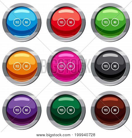 Selection buttons yes and no set icon isolated on white. 9 icon collection vector illustration