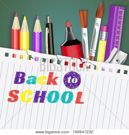 back to school. banner. Templates with supplies tools. Place for your text. Place for your text. Layered realistic vector illustration.