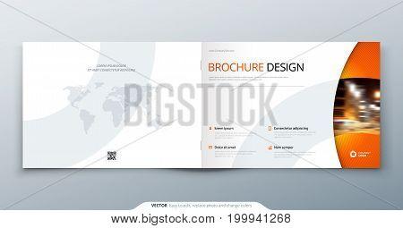 Landscape Brochure design. Orange corporate business rectangle template brochure, report, catalog, magazine. Brochure layout modern circle shape abstract background. Creative vector concept