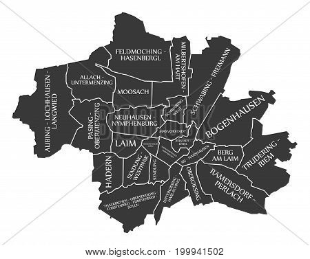 Munich City Map Germany DE labelled black illustration