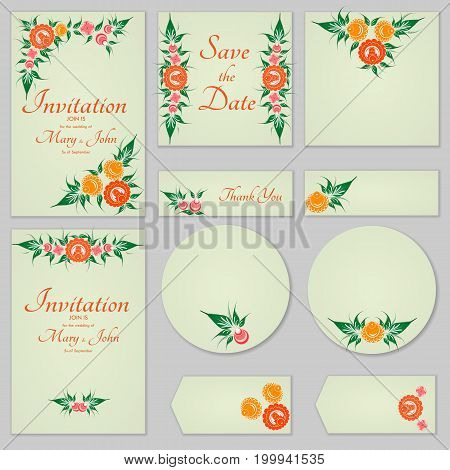 Collection Greeting Cards With Stylized Orange Roses, Can Be Used As Invitation Card For Wedding, Bi