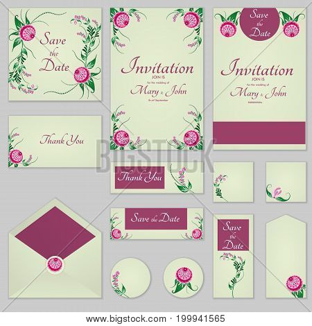 Collection Greeting Cards With Stylized Burgundy Roses, Can Be Used As Invitation Card For Wedding,