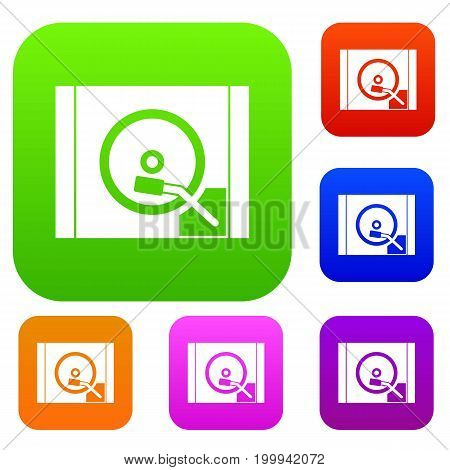 Turntable set icon in different colors isolated vector illustration. Premium collection