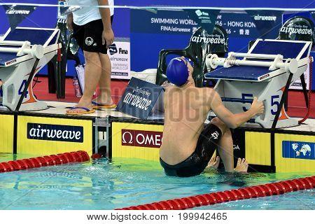Hong Kong China - Oct 30 2016. Australian olympian world champion and record holder Mitch LARKIN (AUS) before the Men's Backstroke 200m Final. FINA Swimming World Cup Victoria Park Swimming Pool.
