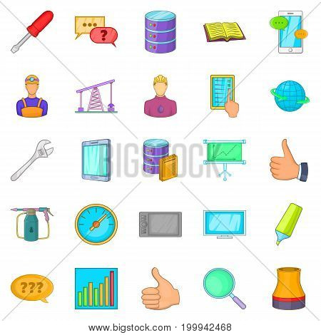 Projection icons set. Cartoon set of 25 projection vector icons for web isolated on white background