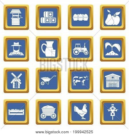 Farm icons set in blue color isolated vector illustration for web and any design