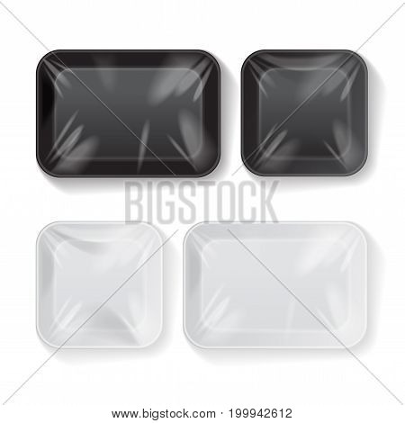 Set of Blank Black and White Styrofoam Plastic Food Tray Container. Vector Mock Up Template for your design