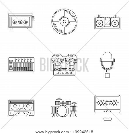 Sound studio icon set. Outline style set of 9 sound studio vector icons for web isolated on white background