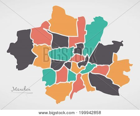 Munich Map with boroughs and modern round shapes