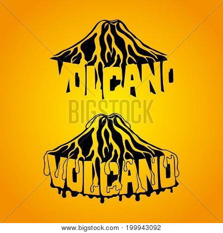 Beautiful volcano sign on an orange background.