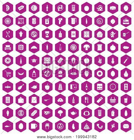 100 lunch icons set in violet hexagon isolated vector illustration