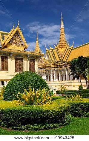 The Royal Palace in Phnom Penh Cambodia is a complex of buildings which serves as the royal residence of the king of Cambodia