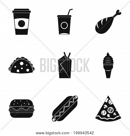 Unhealthy food icon set. Simple style set of 9 unhealthy food vector icons for web isolated on white background
