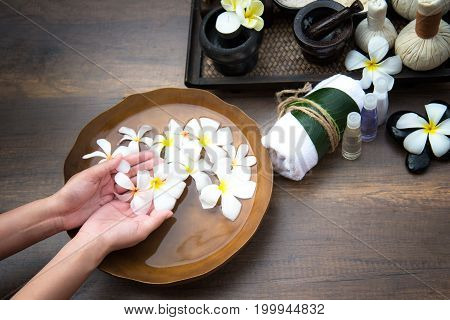 Spa treatment and product for female feet and manicure nails spa Thailand. Healthy Concept.
