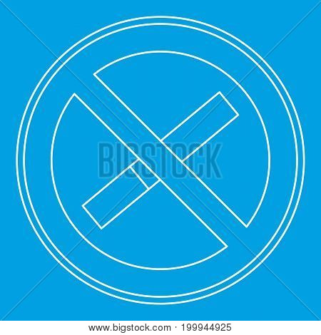 No smoking sign icon blue outline style isolated vector illustration. Thin line sign