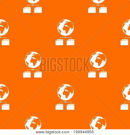 Planet and two folders pattern repeat seamless in orange color for any design. Vector geometric illustration
