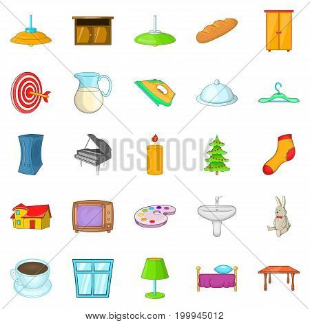 Cosiness icons set. Cartoon set of 25 cosiness vector icons for web isolated on white background