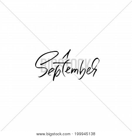 Hand drawn typography lettering. 1 September. Month inscription. Vector Illustration. Back to school