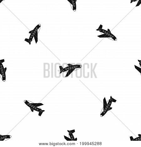 Airplane pattern repeat seamless in black color for any design. Vector geometric illustration