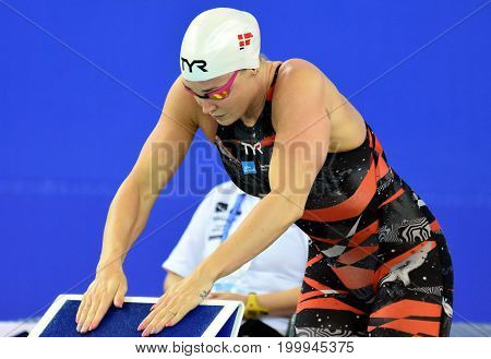 Hong Kong China - Oct 30 2016. OTTESEN Jeanette (DEN) at the start of Women's Butterfly 50m Final. FINA Swimming World Cup Victoria Park Swimming Pool.