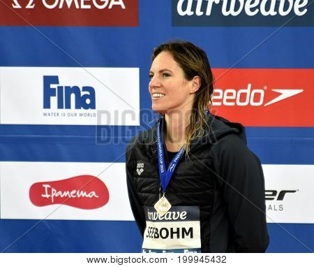 Hong Kong China - Oct 30 2016. SEEBOHM Emily (AUS) at the Victory Ceremony of the Women's Individual Medley 100m. FINA Swimming World Cup.