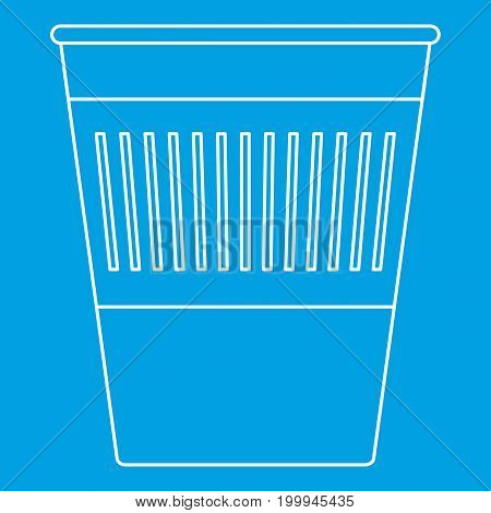 Trash basket icon blue outline style isolated vector illustration. Thin line sign