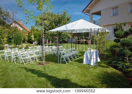 Outdoor setup for wedding reception . . .