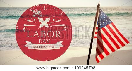 Illustration of labor day celebration against scenic view of ocean