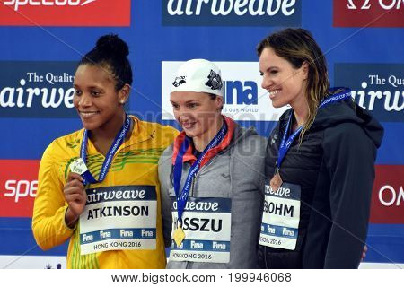 Hong Kong China - Oct 30 2016. ATKINSON Alia (JAM) Katinka HOSSZU (HUN) and SEEBOHM Emily (AUS) at the Victory Ceremony of the Women's Individual Medley 100m. FINA Swimming World Cup.