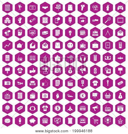 100 marketing icons set in violet hexagon isolated vector illustration