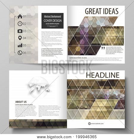 Business templates for square design bi fold brochure, magazine, flyer, booklet or annual report. Leaflet cover, abstract flat layout, easy editable vector. Abstract multicolored backgrounds. Geometrical patterns. Triangular and hexagonal style.