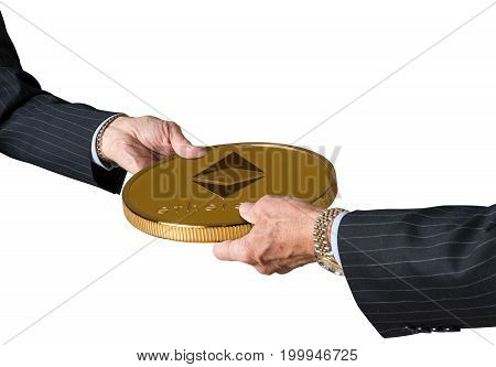Hands of two financial traders gripping Ethereum in illustration of blockchain isolated against a white background
