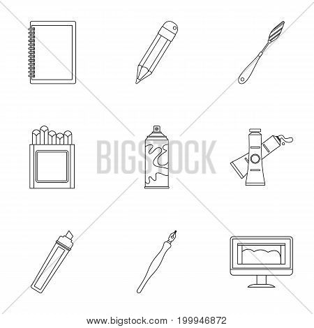 Designer workspace icons set. Outline set of 9 designer workspace vector icons for web isolated on white background