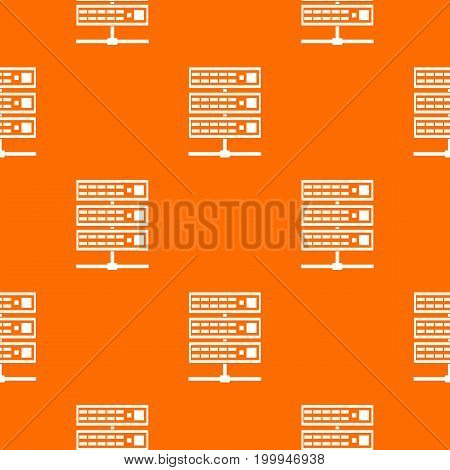 Servers pattern repeat seamless in orange color for any design. Vector geometric illustration