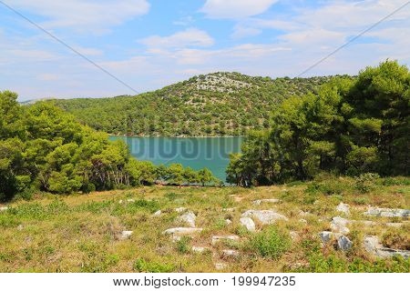 This is salt lake in the Telascica Nature Park which is separated from the sea by high hills.