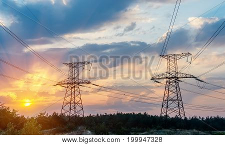 High voltage power tower beautiful scenery at dusk