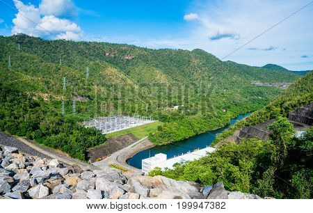 The Power Station At The Srinagarind Dam The Biggest Rockfill Dam In Thailand On The Khwae Yai River