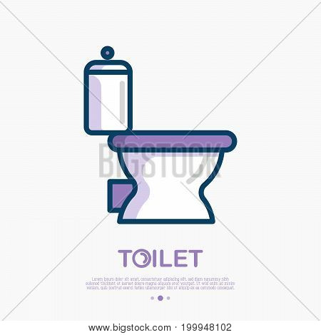 Toilet icon with bowl. Thin line vector illustration for logo of plumber or bathroom equipment shop.