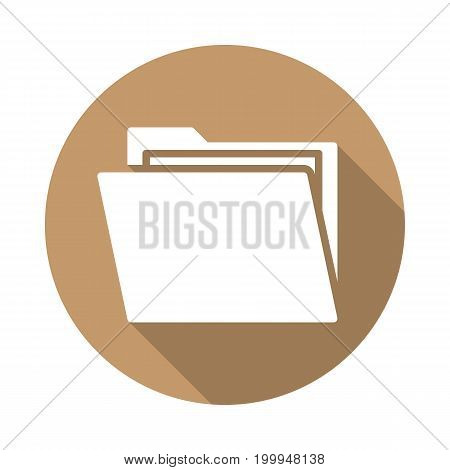 Folder with documents flat icon. Round colorful button, circular vector sign with long shadow effect. Flat style design