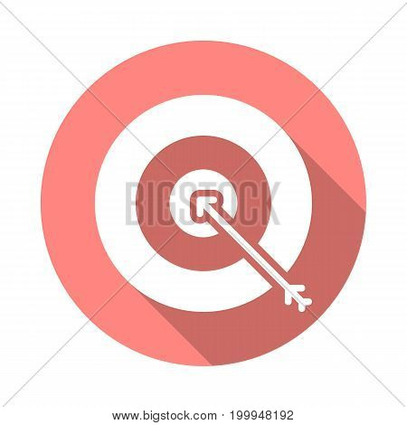 Target, goal flat icon. Round colorful button, Bullseye circular vector sign with long shadow effect. Flat style design