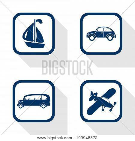 flat design icons travel set - car bus boat airplane