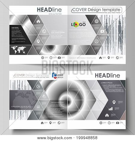 Business templates for square design bi fold brochure, magazine, flyer, booklet or annual report. Leaflet cover, abstract flat layout, easy editable vector. Simple monochrome geometric pattern. Minimalistic background. Gray color shapes.