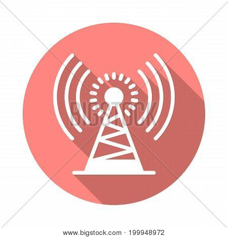 Antenna tower flat icon. Round colorful button, Radio signal circular vector sign with long shadow effect. Flat style design